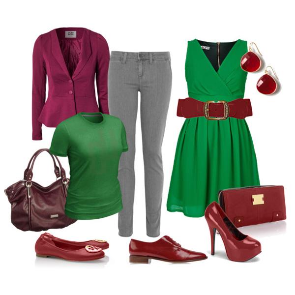 Сочетание зеленого платья с