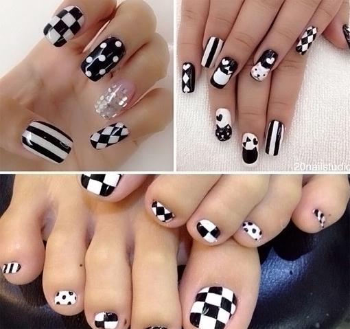 черно белый дизайн ногтей фото