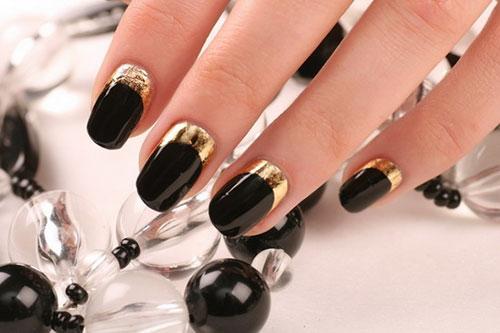 черно золотой маникюр, фото