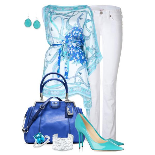 Голубые босоножки с чем носить