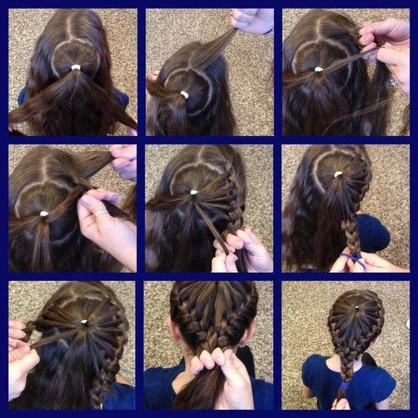 плетение корзинки из волос, фото