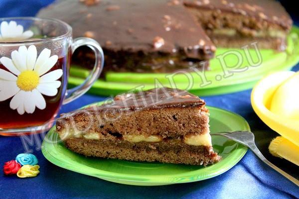шоколадный торт с бананами, фото