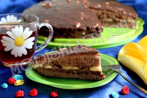 торт с бананами и шоколадом, фото