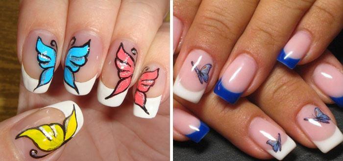маникюр бабочки на ногтях фото