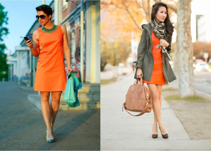 оранжевое платье + зеленый, фото