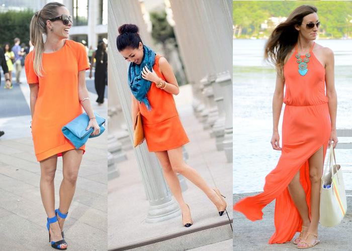 оранжевое платье + синий
