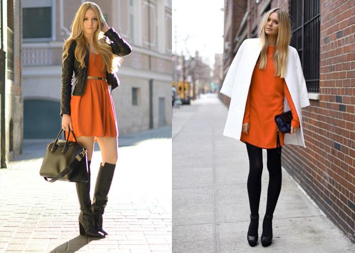 Оранжевое платье + белый и черный