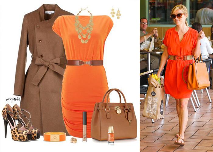 оранжевое платье с коричневым, фото