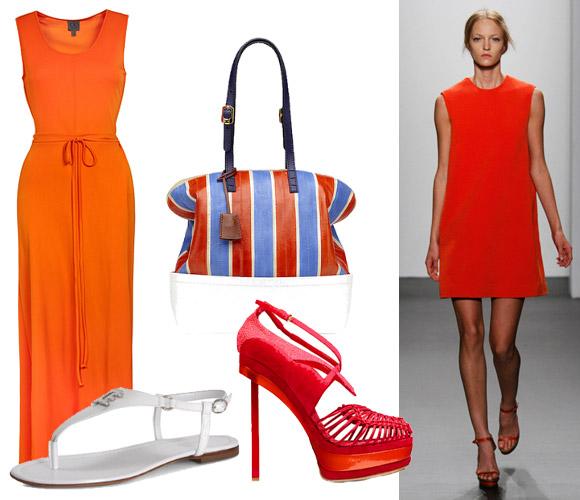 Что одеть к оранжевому платью