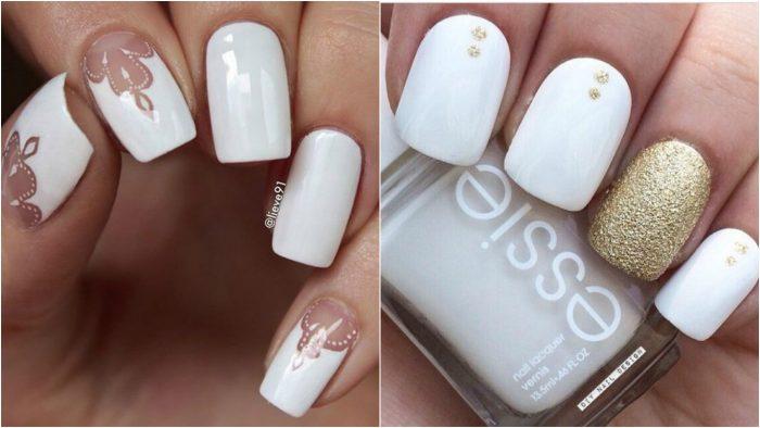 белые ногти фото