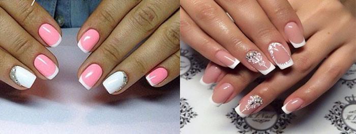 Ногти розовый с белым френч фото