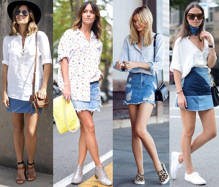 Юбка джинсовая с чем носить летом фото