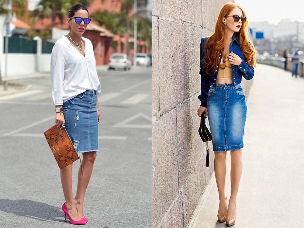 Текстильная джинсовая юбка